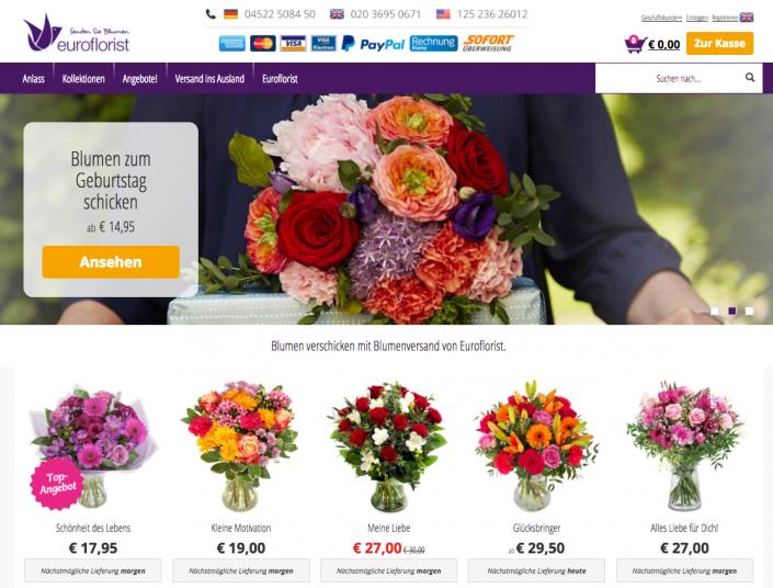 Blumenstrauß auf euroflorist.de