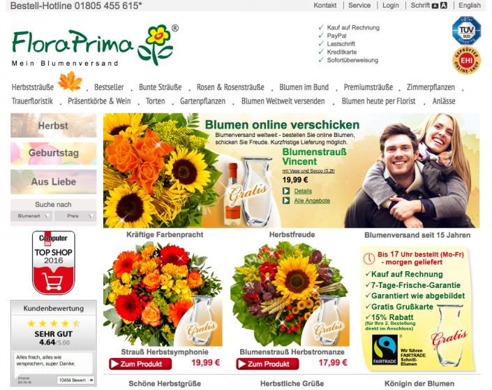 Blumenstrauß auf floraprima.de