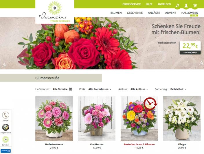 Blumenstrauß auf valentins.de