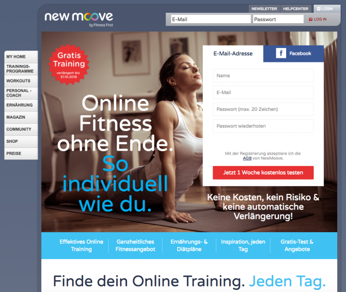 Online Fitness bei newmoove.com