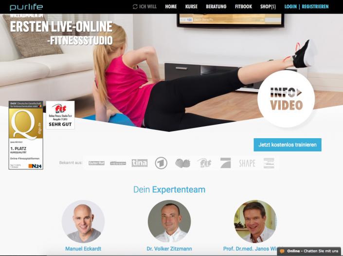 Online Fitness bei pur-life.de