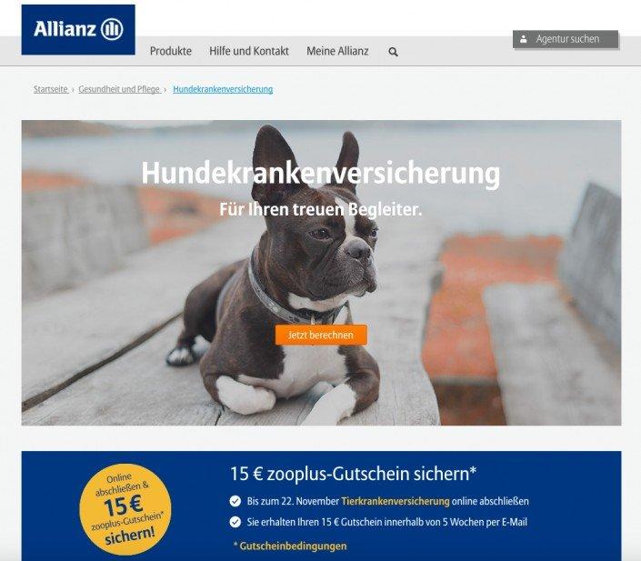 Haustierkrankenversicherung bei allinaz.de