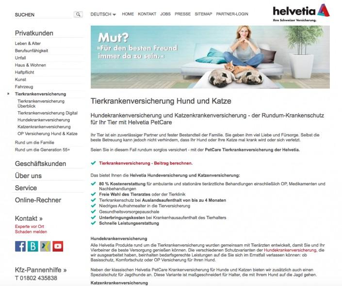 Haustierkrankenversicherung bei helvetia.com