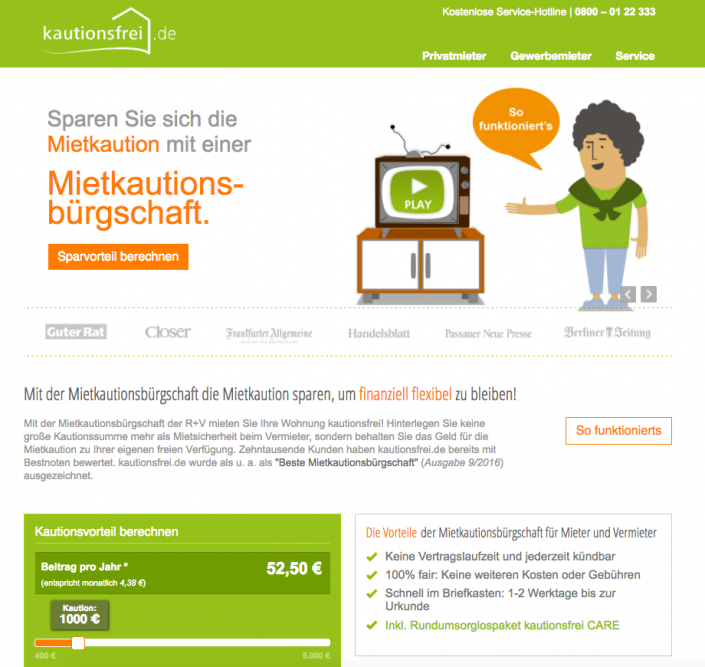 Mietkaution bei kautionsfrei.de