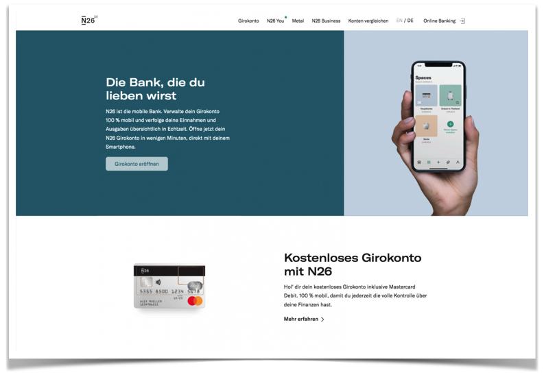 N26 Bank Website
