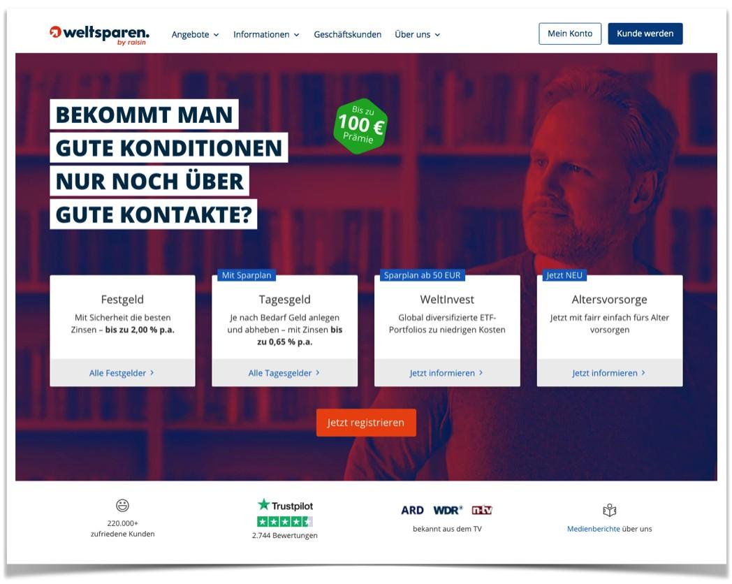 Weltsparen Website