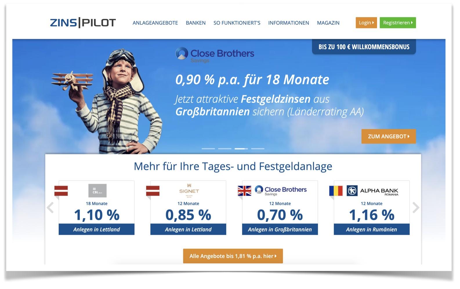 Zinspilot Website