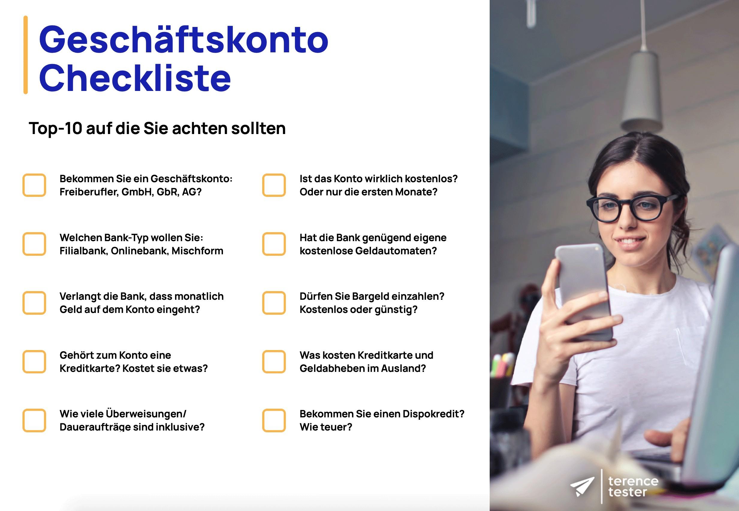 Geschäftskonto Checkliste
